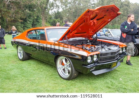 SAN FRANCISCO - SEPTEMBER 29: A 1970 Chevrolet Chevelle is on display during the 2012 Jimmy's Old Car Picnic in Golden Gate Park in San Francisco on September 29, 2012 - stock photo