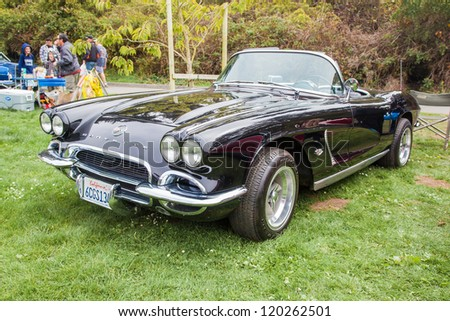 SAN FRANCISCO - SEPTEMBER 29: A 1962 Chevrolet Corvette Convertible is on display during the 2012 Jimmy's Old Car Picnic in Golden Gate Park in San Francisco on September 29, 2012 - stock photo
