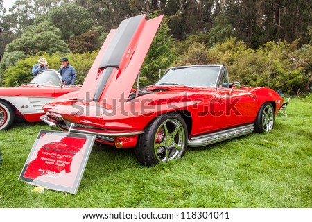 SAN FRANCISCO - SEPTEMBER 29: A 1967 Chevrolet Corvette Stingray is on display during the 2012 Jimmy's Old Car Picnic in Golden Gate Park in San Francisco on September 29, 2012 - stock photo