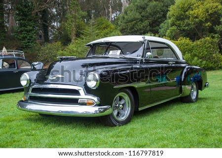 SAN FRANCISCO - SEPTEMBER 29: A 1950 Chevrolet Deluxe is on display during the 2012 Jimmy's Old Car Picnic in Golden Gate Park in San Francisco on September 29, 2012 - stock photo