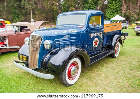 SAN FRANCISCO - SEPTEMBER 29: A 1937 Chevrolet Pickup is on display during the 2012 Jimmy's Old Car Picnic in Golden Gate Park in San Francisco on September 29, 2012
