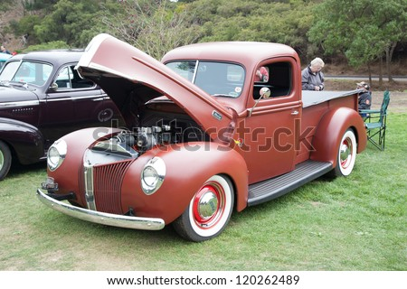 SAN FRANCISCO - SEPTEMBER 29: A 1940 Ford Pickup Truck is on display during the 2012 Jimmy's Old Car Picnic in Golden Gate Park in San Francisco on September 29, 2012 - stock photo