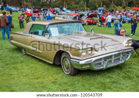 SAN FRANCISCO - SEPTEMBER 29: A 1960 Ford Thunderbird is on display during the 2012 Jimmy's Old Car Picnic in Golden Gate Park in San Francisco on September 29, 2012