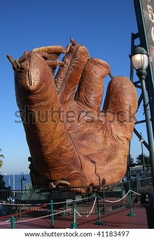 SAN FRANCISCO - SEPTEMBER 20: A giant old time leather baseball glove, reminiscent of an earlier era, on display by the Giants at AT&T Park on September 20, 2007 in San Francisco, California. - stock photo