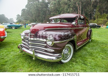 SAN FRANCISCO - SEPTEMBER 29: A 1948 Plymouth Special Deluxe is on display during the 2012 Jimmy's Old Car Picnic in Golden Gate Park in San Francisco on September 29, 2012
