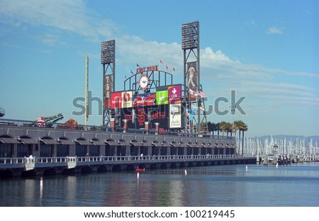 SAN FRANCISCO - SEPTEMBER 20: AT&T Park, home of the Giants and located on the bay, on September 20, 2007 in San Francisco, California. The ballpark opened in 2000 and cost $357 million. - stock photo