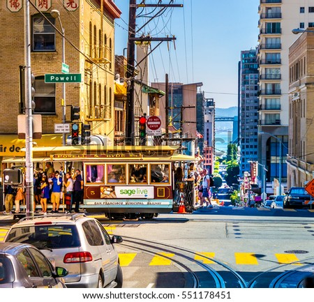 SAN FRANCISCO - September 22, 2015: Cable car in the heart of San Francisco with many tourists on a colorful summer day. Cable Car of Powell-Hyde-Line at the junction of Powell Washington Street.