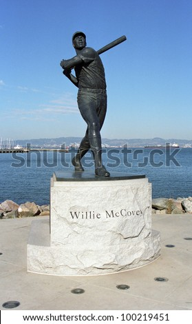SAN FRANCISCO - SEPTEMBER 20: Willie McCovey statue at AT&T Park, home of the Giants on September 20, 2007 in San Francisco, California. The ballpark opened in 2000 and cost $357 million. - stock photo
