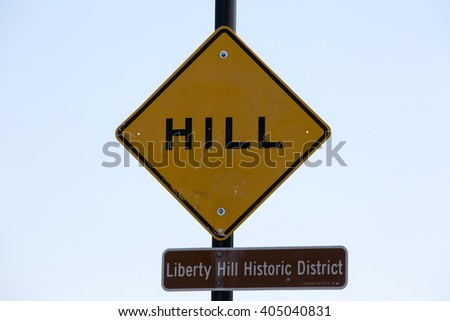 San Francisco sign of Hill - Liberty hill historic district - stock photo