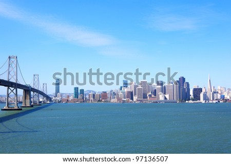 San Francisco skyline and Bay Bridge, USA - stock photo