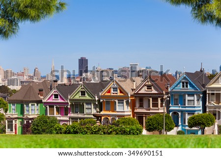 San Francisco skyline and painted ladies - stock photo