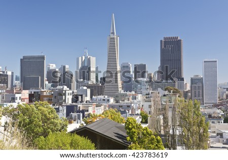 San Francisco skyline and surrounding residential area.