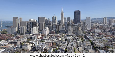 San Francisco skyline and surrounding residential area panorama. - stock photo
