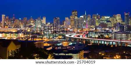 San Francisco skyline at night - stock photo