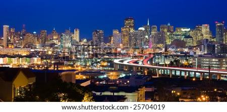 San Francisco skyline at night - stock photo