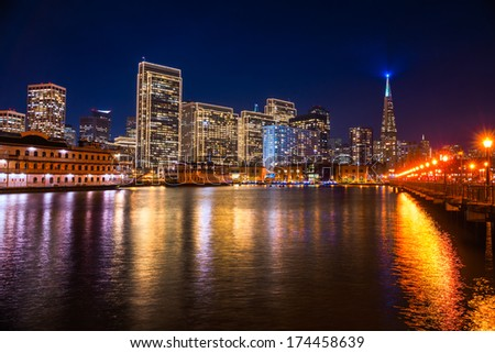 San Francisco skyline at Sunset, California, USA. - stock photo