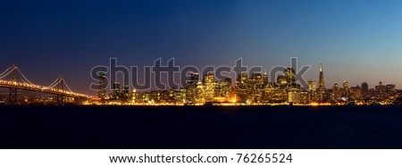 San Francisco skyline at sunset, California, USA - stock photo