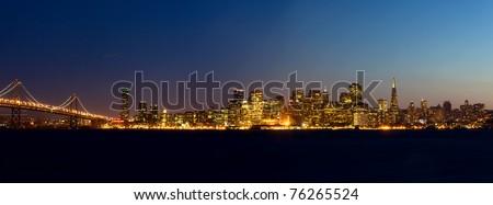 San Francisco skyline at sunset, California, USA - stock photo