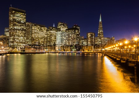 San Francisco skyline from Pier 7 at dusk. - stock photo