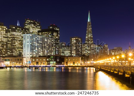 San Francisco skyline from Pier 7 at dusk. - stock photo
