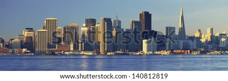 San Francisco skyline from Treasure Island, San Francisco, California - stock photo