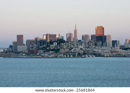 San Francisco skyline in sunset light