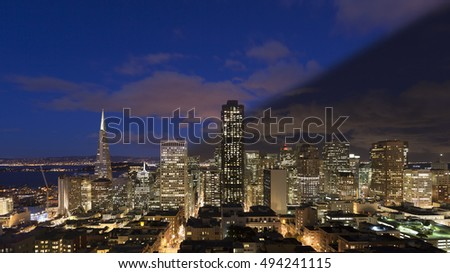 San Francisco skyline twilight transition after sunset with illuminated skyscrapers