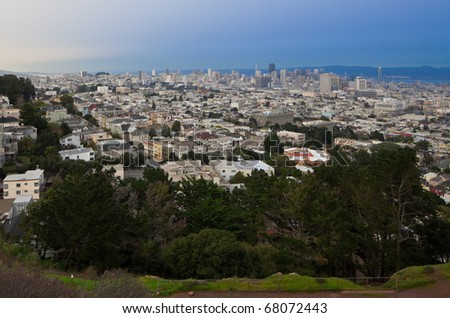 San Francisco skylines: view from Corona Heights Park. - stock photo