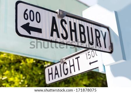 San Francisco street sign at intersection of Haight and Ashbury, California, USA. - stock photo