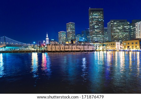 San Francisco sunset skyline from Pier 7 in California USA