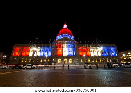 SAN FRANCISCO,US - NOV 13, 2015: City Hall of San Francisco turned on the light with french color for Terrorism Attack in Paris on Nov 13,2015 in San Francisco,US - stock photo