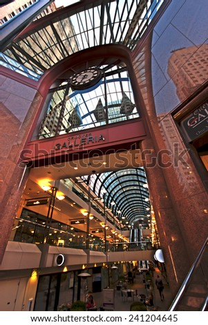 SAN FRANCISCO, US - OCT 2, 2012: Crocker Galleria shopping center at Financial District in San Francisco on Oct 2, 2012. It's skylight roof is inspired by Milan's Galleria Vittorio Emanuele  - stock photo