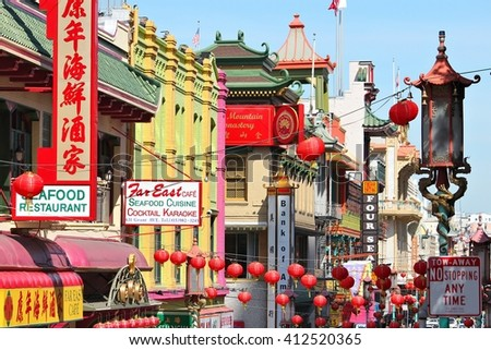 SAN FRANCISCO, USA - APRIL 8, 2014: Chinatown in San Francisco, USA. San Francisco Chinatown is the largest Chinese community outside Asia (100,000 people).