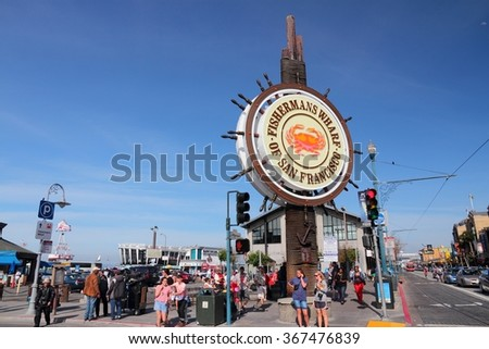 SAN FRANCISCO, USA - APRIL 8, 2014: People visit Fisherman's Wharf in San Francisco, USA. San Francisco is the 4th most populous city in California (837,442 people in 2013).