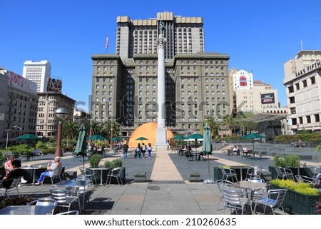 SAN FRANCISCO, USA - APRIL 8, 2014: People visit Union Square in San Francisco, USA. San Francisco is the 4th most populous city in California (837,442 people in 2013).