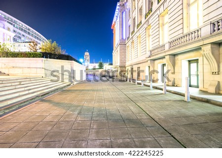 san francisco,usa: empty footpath near wall of city hall in san francisco by zhudifeng on Nov,13,2016 - stock photo