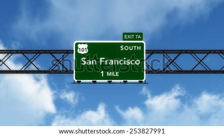 San Francisco USA Interstate Highway Sign 3D Illustration - stock photo