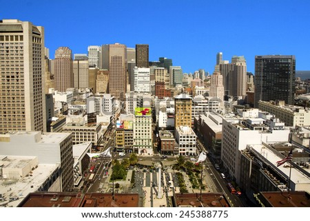 SAN FRANCISCO, USA - JULY 25, 2010: Platform at the Sheraton is open for Tourists at Midday to get a scenic overview over the city in San Francisco, USA. - stock photo