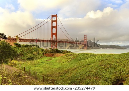 SAN FRANCISCO,USA - MARCH 1 2014: The famous Golden Gate Bridge in California, United States of America. A view of the Bay and the red suspended bridge connecting Frisco to Marin County at sunset. - stock photo
