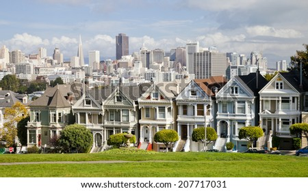 SAN FRANCISCO, USA - NOVEMBER 1, 2012: Painted Ladies in San Francisco on November 1st, 2012. It is the row of Victorian houses at Steiner Street. The houses were built between 1892 and 1896.