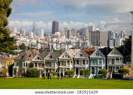 SAN FRANCISCO, USA - NOVEMBER 1st, 2012: Painted Ladies in San Francisco on November 1st, 2012. It is the row of Victorian houses, across Alamo Square park. The houses were built between 1892 and 1896
