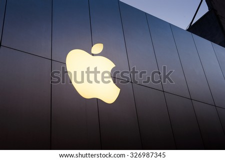 SAN FRANCISCO, USA - OCT 5, 2015: Apple sign on the Apple store in San Francisco. Apple Inc. is an American multinational technology company in Cupertino, California - stock photo