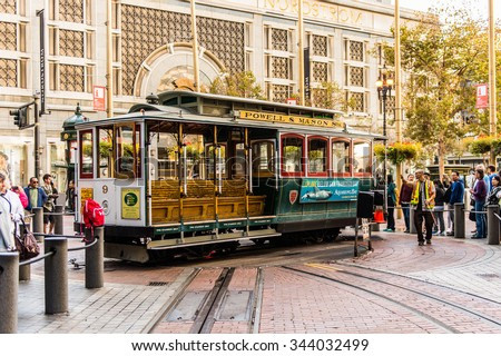 SAN FRANCISCO, USA - OCT 4, 2015: Historic cable car in San Francisco, USA. An icon of San Francisco, cable cars started operating from 1878