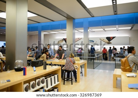 SAN FRANCISCO, USA - OCT 5, 2015: Unidentified people in Apple store in San Francisco. Apple Inc. is an American multinational technology company in Cupertino, California