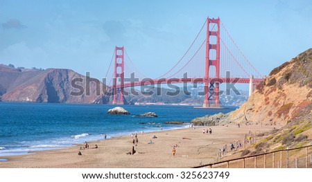 san francisco usa october 6 2015 golden gate bridge california ca beach sf