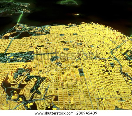 San Francisco, USA, satellite view, map in 3d, night, lights - stock photo