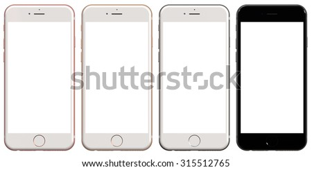 SAN FRANCISCO, USA - September 9: Set of iPhone 6s smartphones presented by Apple at this year's event in San Francisco, isolated on white background, USA on September 9, 2015. - stock photo