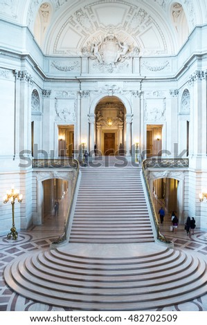 San Francisco, USA - September 22, 2015: The inside of the City Hall in the Civic Center area