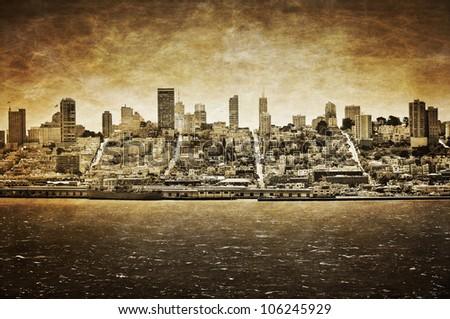 San Francisco vintage view from Alcatraz - stock photo