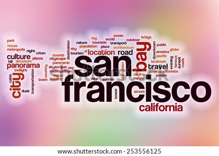 San Francisco word cloud concept with abstract background - stock photo